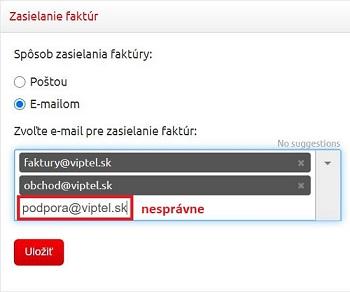 Nesprávne nastavenie e-mailov na zasielanie faktúr