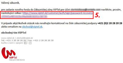 E-mail s linkom na pregenerovanie nového hesla