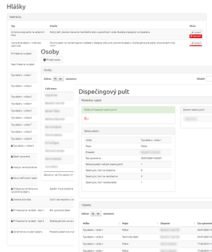 Ukážka webového rozhrania dispečingového pultu