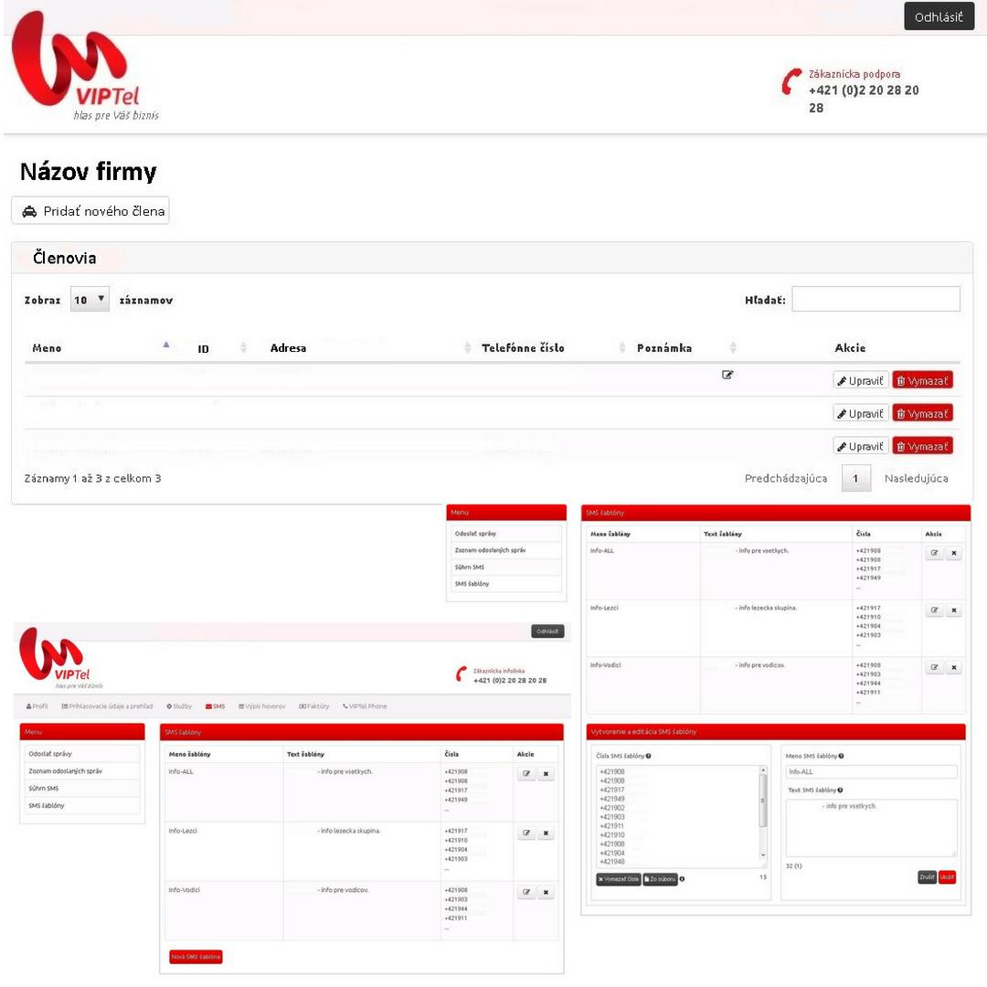 Ukážka webového rozhrania